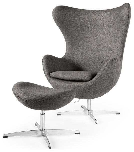 Kardiel Amoeba Cashmere Chair and Ottoman, 2-Piece Set, Cadet Gray Tweed