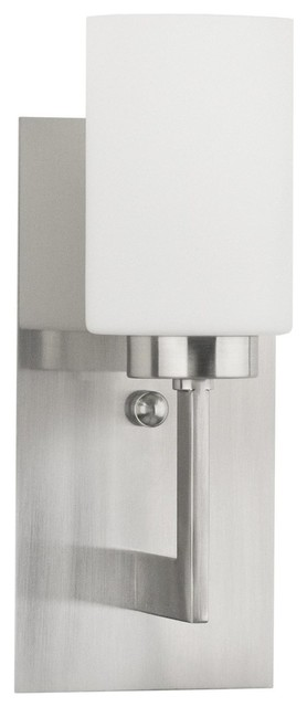 Brio Wall Sconce WithFrosted Glass Shade, Brushed Nickel