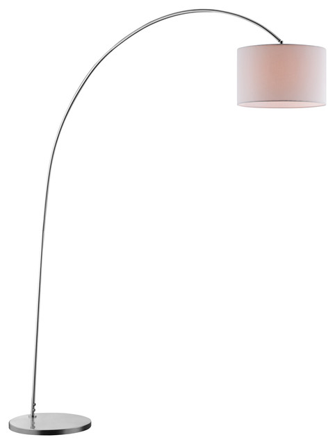 Ashley Floor Lamp, White, Modern, Brushed Steel.