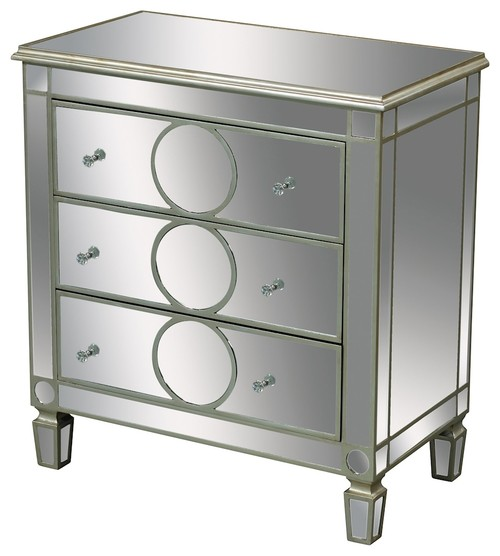 Chest Derin 3-Drawer Chest In Clear Mirror and Champagne Silver Leaf