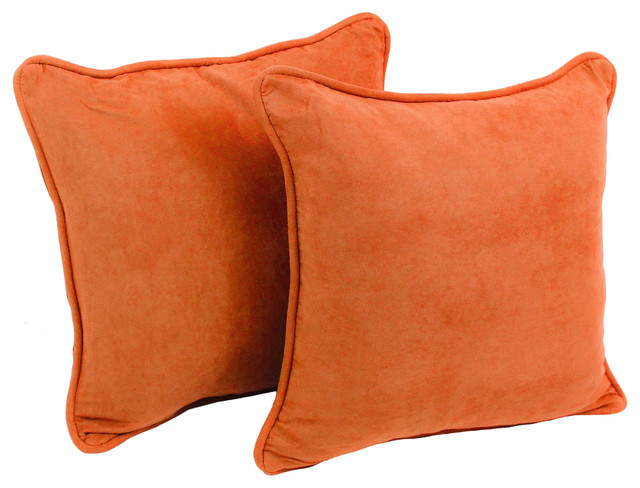 "18"" Solid Microsuede Square Throw Pillows, Set Of 2, Tangerine Dream."