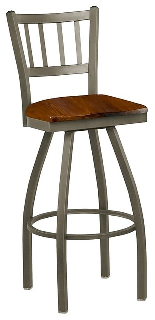 Jailhouse Back Wood Seat Swivel Stool
