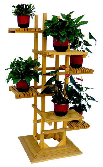 6 Tier Wooden Pedestal Plant Stand