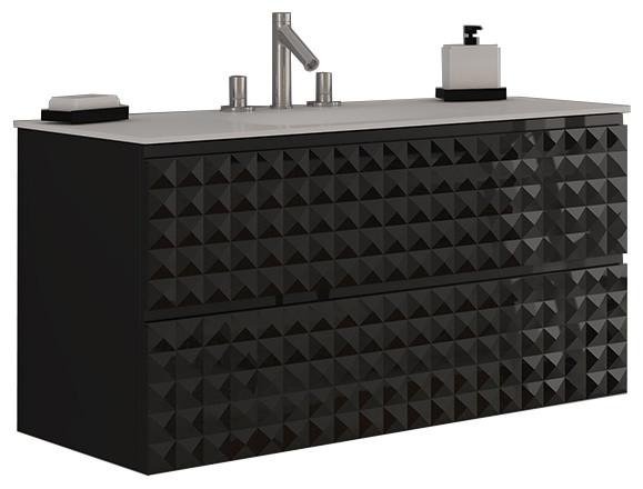 Diamond Wall Mount Bathroom Vanity High Gloss Black