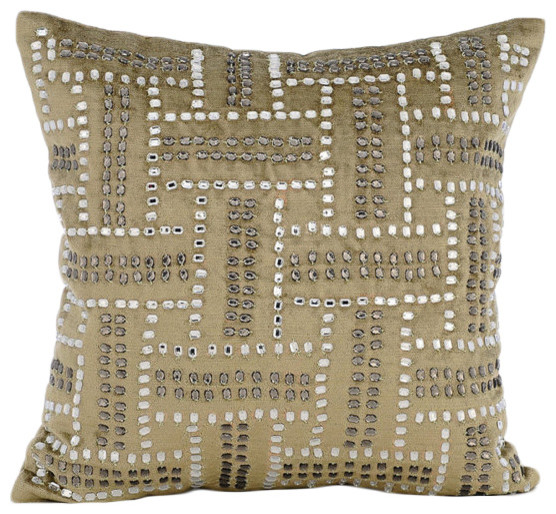 Crystals Maze Green Velvet Throw Pillow Covers, Sage Green Enigma - Modern - Decorative Pillows ...