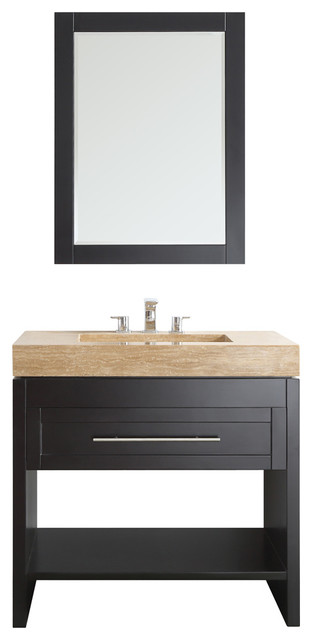 Bolzana Vanity With Marble Top Transitional Bathroom Vanities And