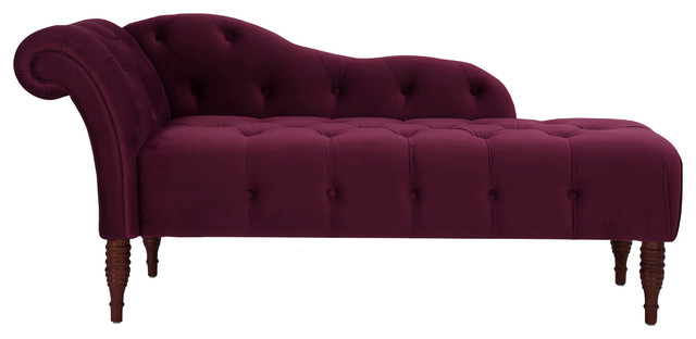 Sadie Chaise Lounge, Burgundy, Right Arm-Facing.