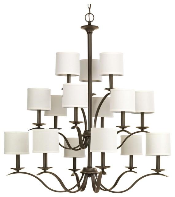 Progress Lighting Inspire 15 Light 3 Tier Chandelier Antique Bronze