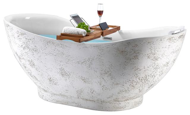 "Freestanding Bathtub, 67"" Rock Pattern Acrylic Bathtub Standalone Tub"