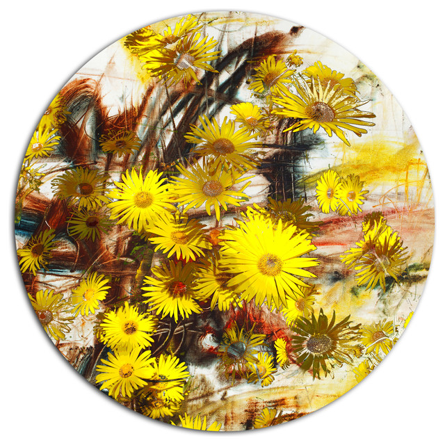 Yellow Flowers Watercolor Illustration Floral Round Wall Art