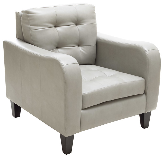 Bowdon Gray Leather Club Chair Transitional Armchairs And Accent Chairs
