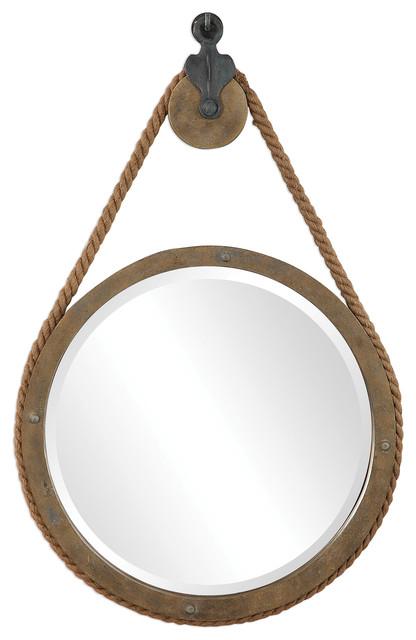 Rustic Round Rope Pulley Pendant Wall, Rope Hanging Vanity Mirror