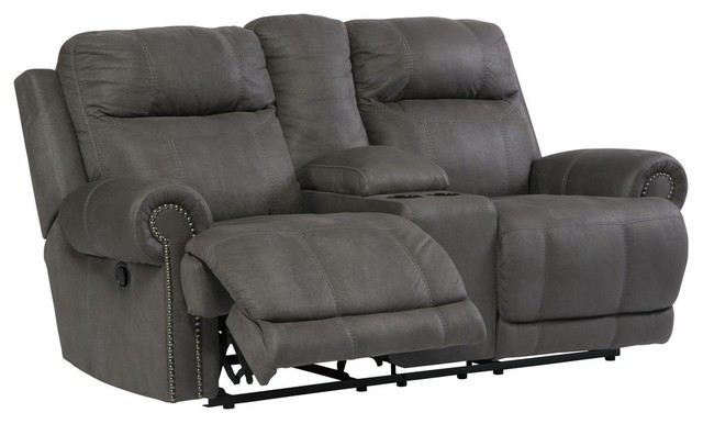 Austere Double Reclining Power Loveseat With Console, Gray.