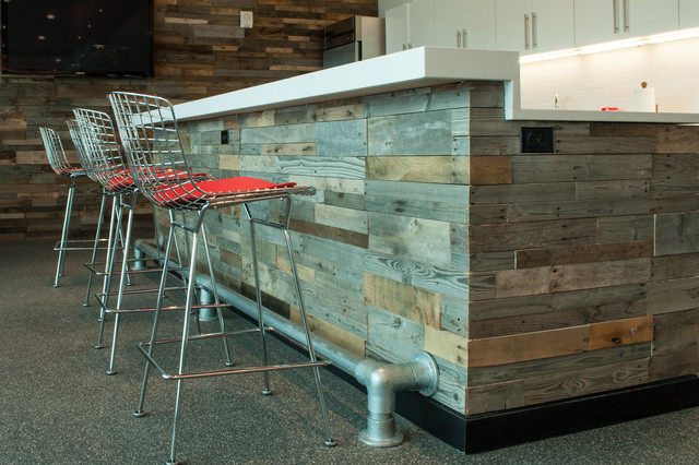 Recycled pallet and reclaimed wood paneling contemporary