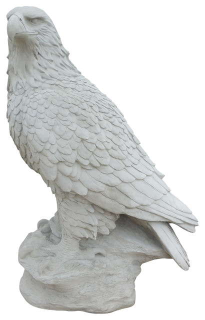 Magnificent Eagle Concrete Statue In Hand Smooth Finish, Unpainted  Traditional Garden Statues
