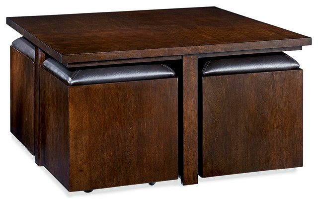 Hammary cubics square coffee table with 4 stools rich for Square coffee table with stools