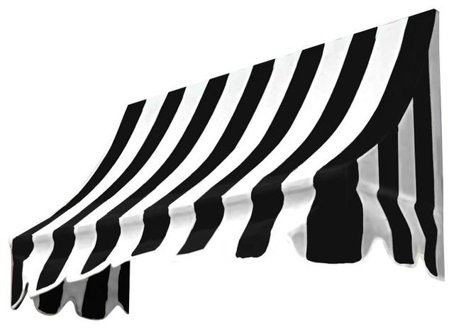 3&x27; Nantucket Window, Entry Awning, 31 Hx24 D, Black/white.