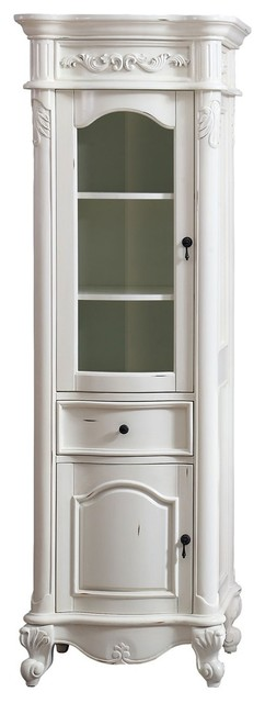 "Avanity Provence 24"" Linen Tower, Antique White Finish."