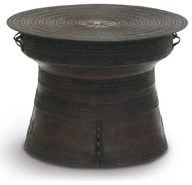 Santino Global Bazaar Large Bronze Rain Drum Side Table