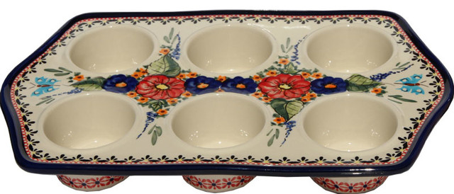 Polish Pottery Muffin Pan, Pattern Number: 149ar.