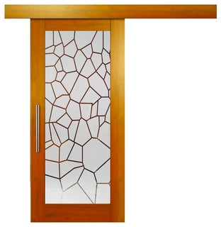 Hardwood Mahagony Sliding Barn Door With Glass Insert