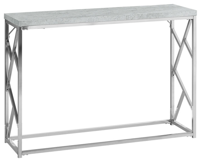 Monarch Console Table Gray Cement With Chrome Metal