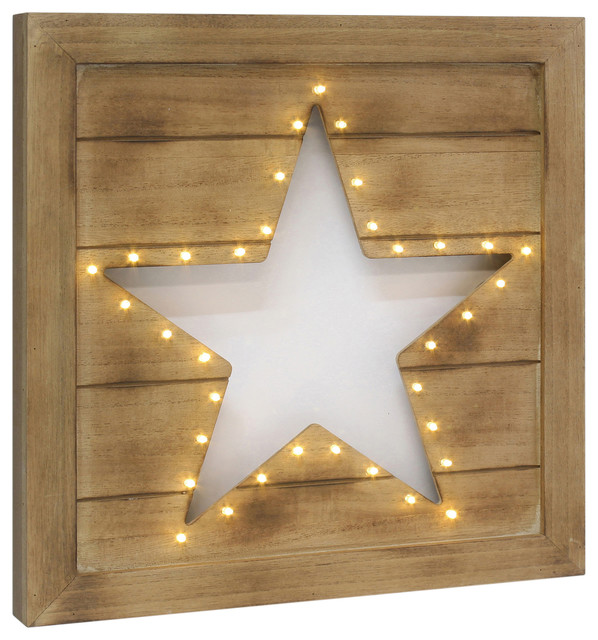 Led Wood Star Cutout Wall Decor