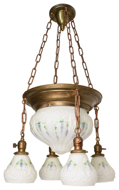 Consigned Chandelier With Bowl and 4 Painted Shades With Floral Design