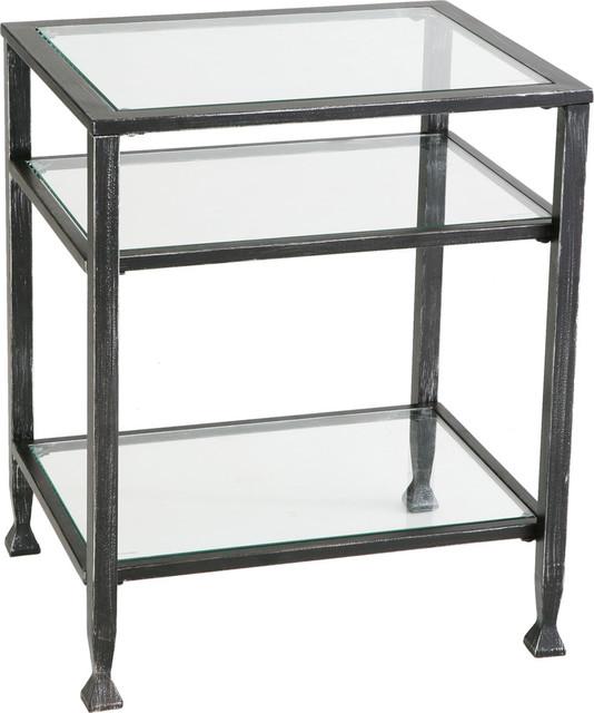 Metal End Table, Black.