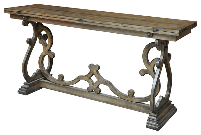 Monticello Shaped Leg Flip Out Sofa Table Traditional