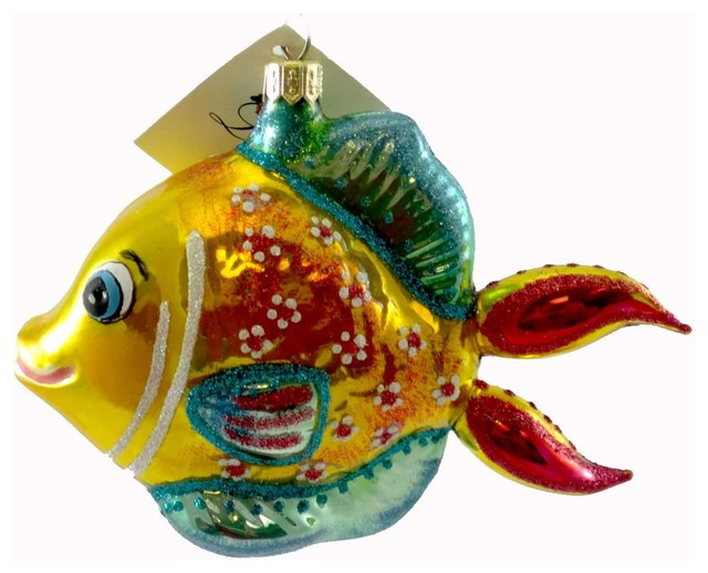 laved italian ornaments fish gold and teal glass mouth blown christmas st7670 - Fish Christmas Ornaments
