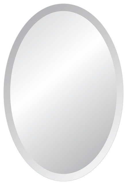 "Oval Frameless Mirror with Polished Beveled Edges, 22""x30"""