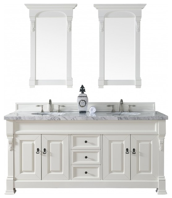 72 Inch Cottage White Bathroom Vanity Double Sink Brown Granite Traditional