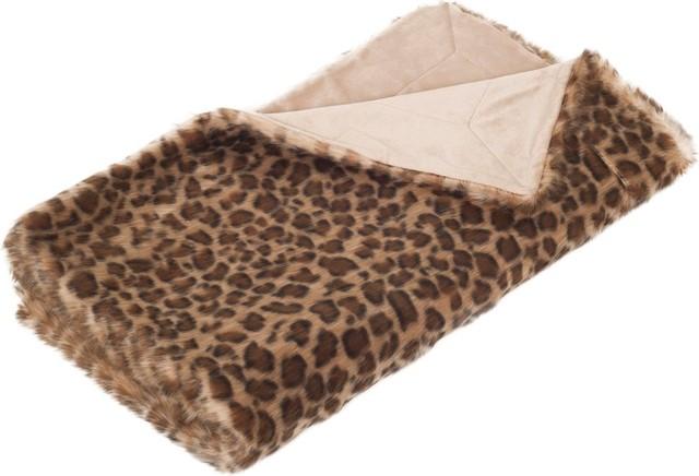 """50""""x60"""" Leopard Print Faux Fur Throw, Leopard."""