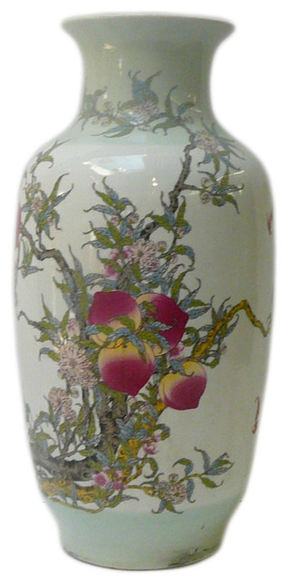 Golden Lotus Asian Chinese White Porcelain Color Peach