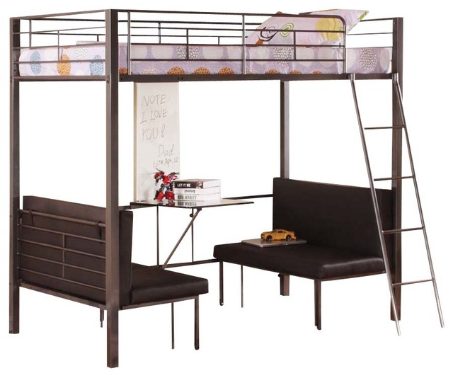 Amazing Twin Size Metal Bunk Loft Bed With Adjustable Seat Desk And Attached Ladder  Contemporary