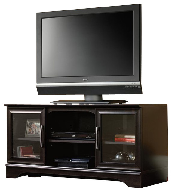 Sauder Panel TV Stand With Post Mount In Estate Black
