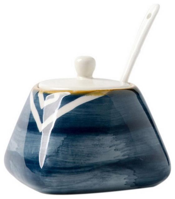 Japanese Ceramic Spice Jar Oil Jar Kitchen Supplies Salt Shaker, Dark Blue