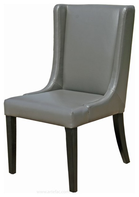 Artefac wing back leather dining room chair view in for Wing back dining chairs