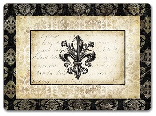 Counterart Hardboard Placemat Fleur De Lis Damask Set Of