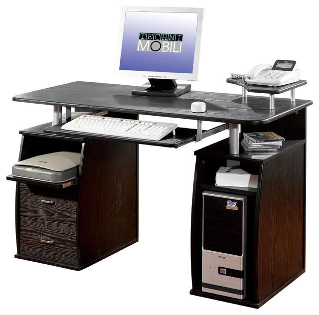 techni mobili dual pedestal computer desk in espresso - desks and