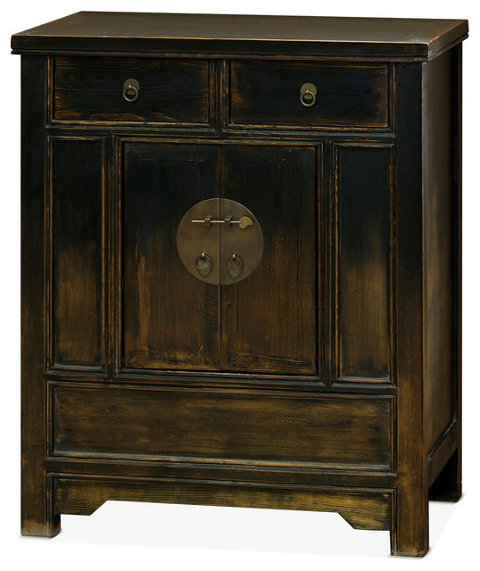 Ming Style Nightstand With Distressed Black Finish Asian
