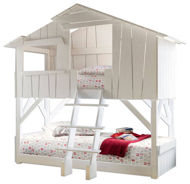 treehouse twin bunk bed, solid pine - contemporary - bunk beds