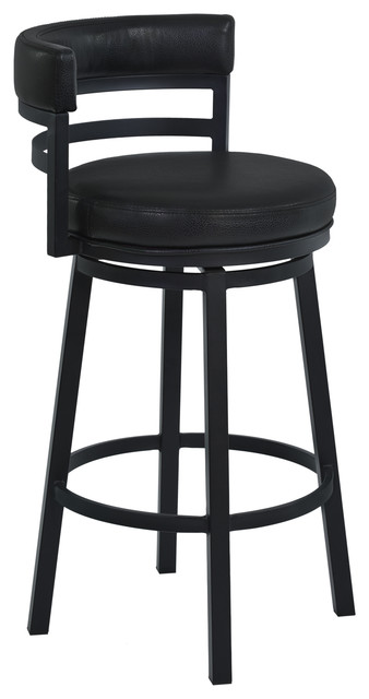 Armen Living Madrid Metal Swivel Stool Black Ford Black