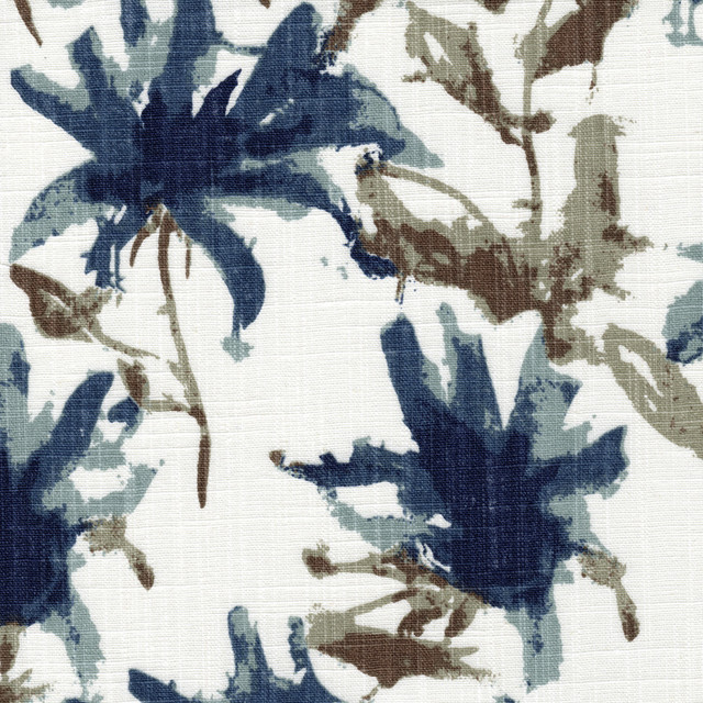 Pinch Pleated Curtain Panels Pair Kendal Regal Blue Floral Cotton Linen.