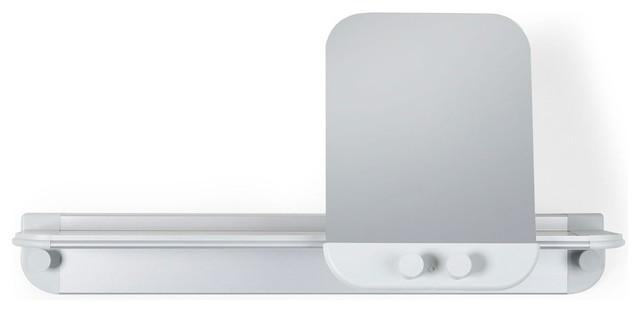 Glide Shower Shelf W Mirror In Grey Aluminum Shower Caddies By Showerdoordirect