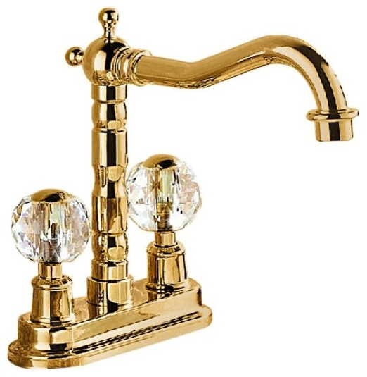 Crystal Design Gold Finish Deck Mount Bathroom And Kitchen Sink Faucet Contemporary Bathroom