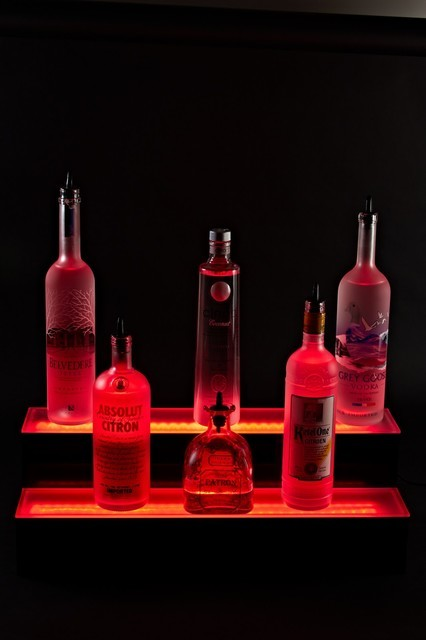 """40"""" 2 Tier LED Lighted Back Bar Liquor Bottle Step Glowing Shelf Display Stand - Contemporary ..."""