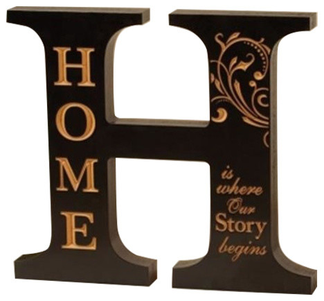 Letter H Wall Decor p. graham dunn aoa13 letter h-home decor, black - transitional
