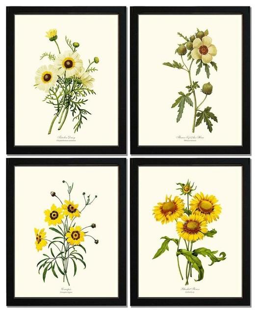 Yellow Flower Set 8x10 Print 8x10 Black Frame.